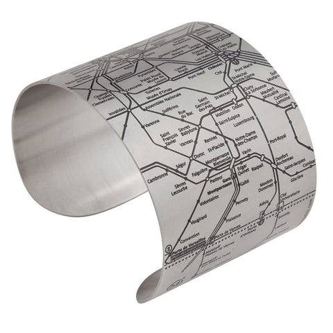 Designhype's Paris Metro Cuff map bracelet with lines detailing the infamous Parisian subway for women who love wanderlust jewelry and all things Paris.