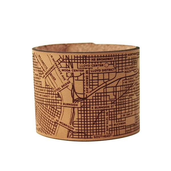 Designhype's leather Portland City Cuff Bracelet with Portland's famous bridges, streets and landmarks detailed.