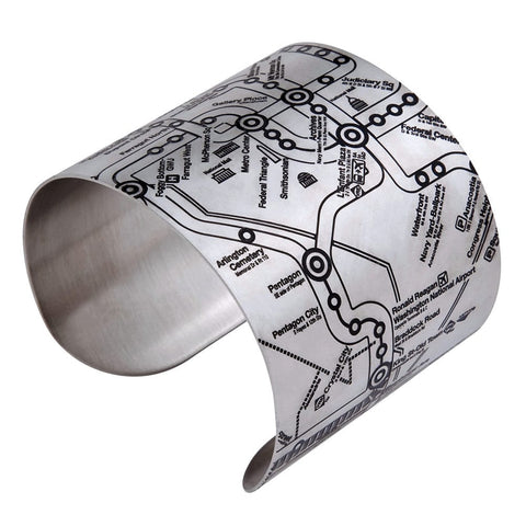 Designhype's Washington DC metro map cuff bracelets made of stainless steel with black embossed details of District of Columbia's famous subway system. These cuffs are great gifts for map lovers, map collectors, women who love funky jewelry and something unique.