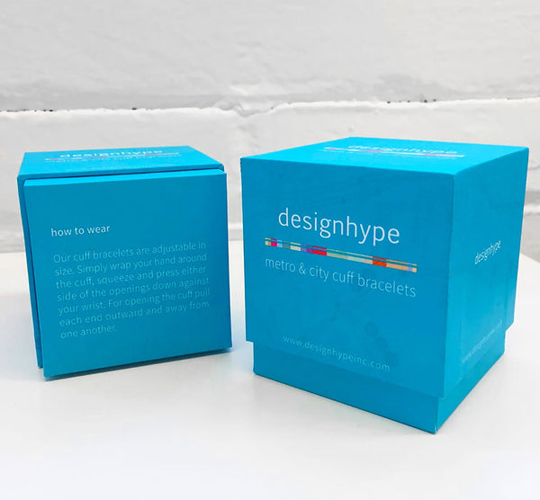 Designhype's branded, blue gift boxes make giving our stainless steel cuff city, subway and street map bracelets quick and easy. Our boxes are recyclable, super thick making them sturdy and are beautifully designed.