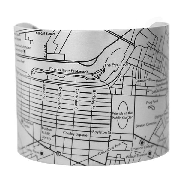 Designhype's Boston matte black, stainless steel street and city map cuff bracelets for the woman who loves to travel around Beantown.