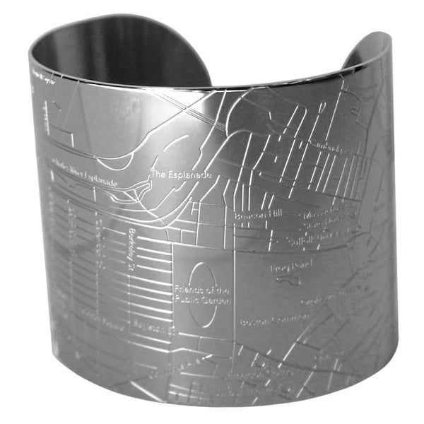 Designhype's Boston shiny stainless steel street and city map cuff bracelets for the woman who loves to travel around Beantown.
