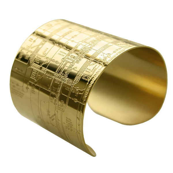 Designhype's Chicago Metro Cuff Map Bracelets in 18K gold plate. The perfect gift for women who love Chi-town. We make wanderlust jewelry for women who love to travel and want to represent their favorite places!