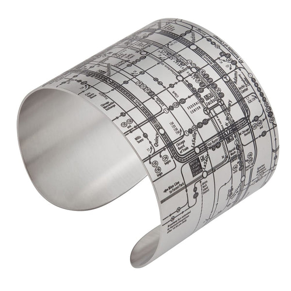 Designhype's Chicago Metro Cuff Map Bracelets in matte black on durable, high quality stainless steel. The perfect gift for women who love Chi-town. We make wanderlust jewelry for women who love to travel and want to represent their favorite places!