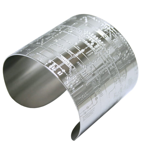 Designhype's Chicago Metro Cuff Map Bracelets made with super shiny, durable, high quality stainless steel. The perfect gift for women who love Chi-town. We make wanderlust jewelry for women who love to travel and want to represent their favorite places!