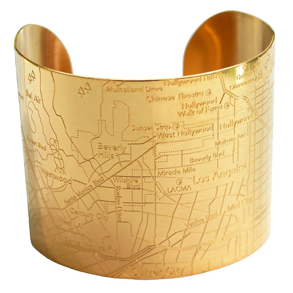Designhype's Los Angeles City Map Cuff Bracelet in gold