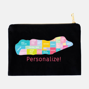 Personalize your Manhattan Neighborhood Map - Makeup Bag Pouch - Designhype - City Inspired Accessories