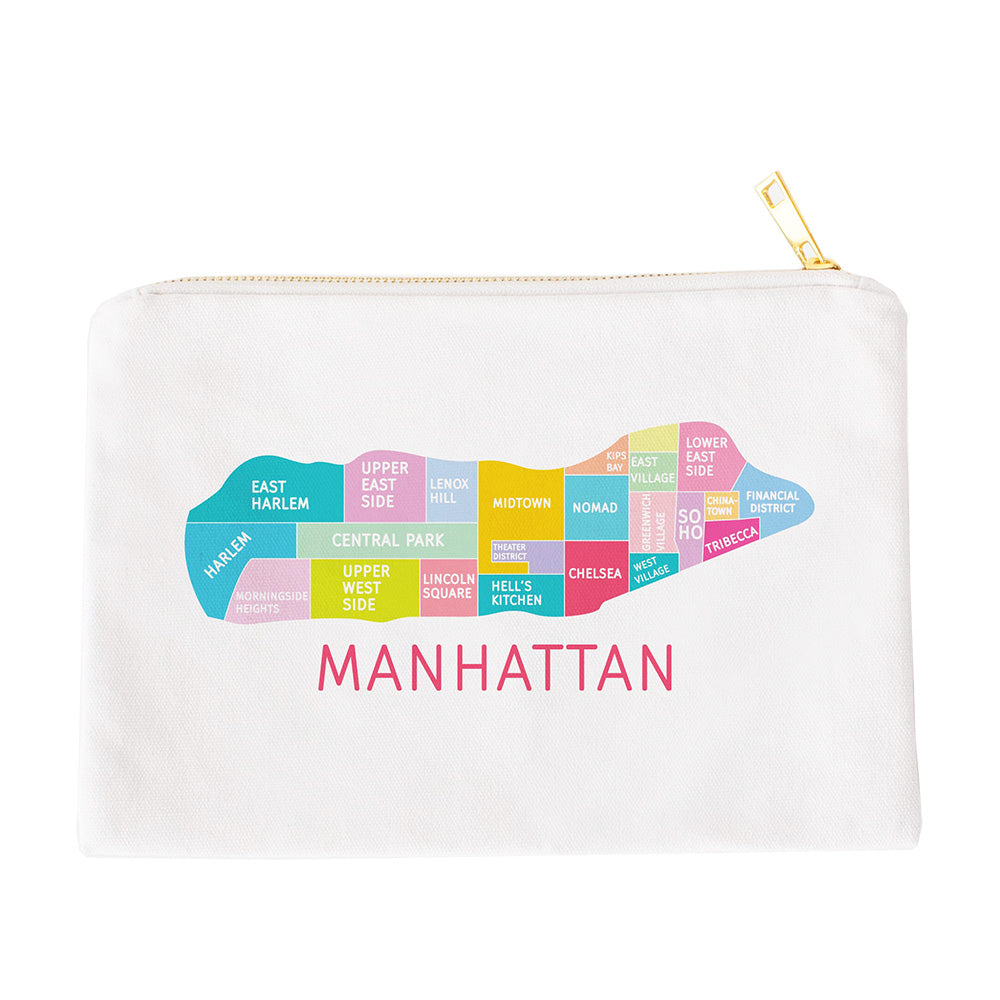 Manhattan Neighborhood Map Makeup Bag - Designhype - City Inspired Accessories