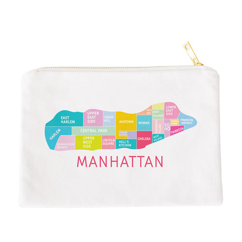 Colorful natural canvas NYC Neighborhood makeup bags by Designhype