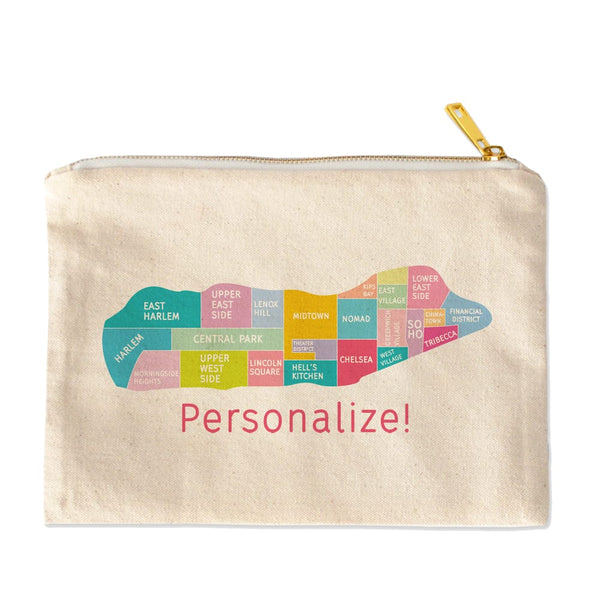 Personalize your Manhattan Neighborhood Map - Makeup Bag Pouch