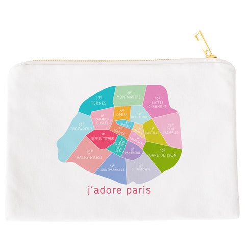 Colorful white Paris Neighborhood makeup bags by Designhype