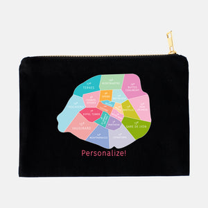Personalize your Colorful Paris Neighborhood Map - Makeup Bag Pouch - Designhype - City Inspired Accessories