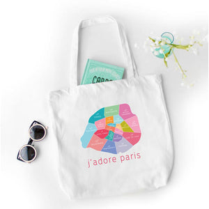 Paris Neighborhood Map - Canvas Tote - Designhype - City Inspired Accessories
