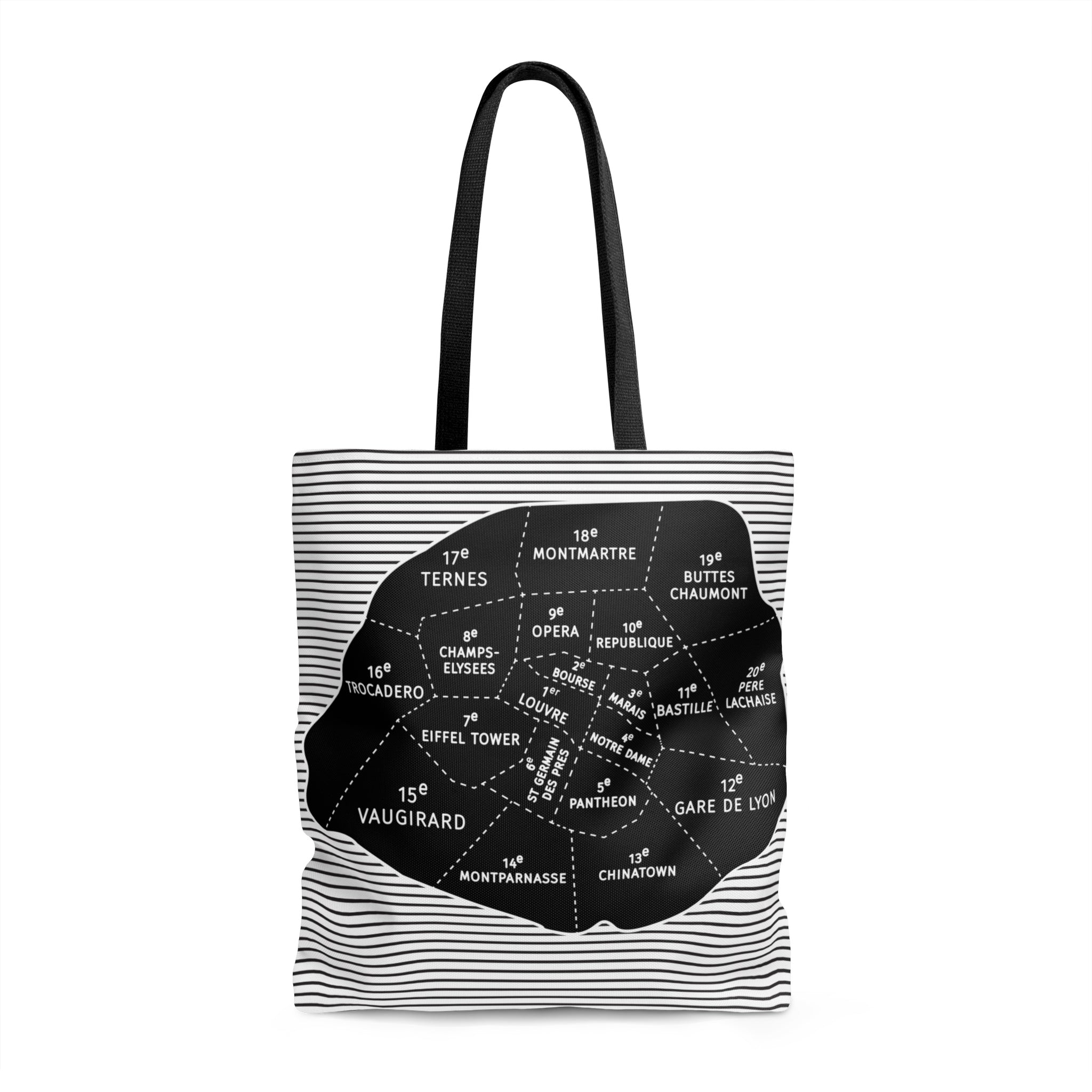 Paris Arrondissement - Neighborhood Map Tote Bags - Designhype - City Inspired Accessories