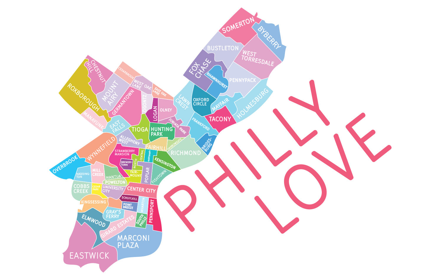 Philadelphia Neighborhood Map - Canvas Market Tote Bag - Designhype - City Inspired Accessories