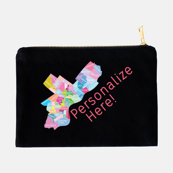 Personalize your Philadelphia Neighborhood Map - Makeup Bag Pouch - Designhype - City Inspired Accessories