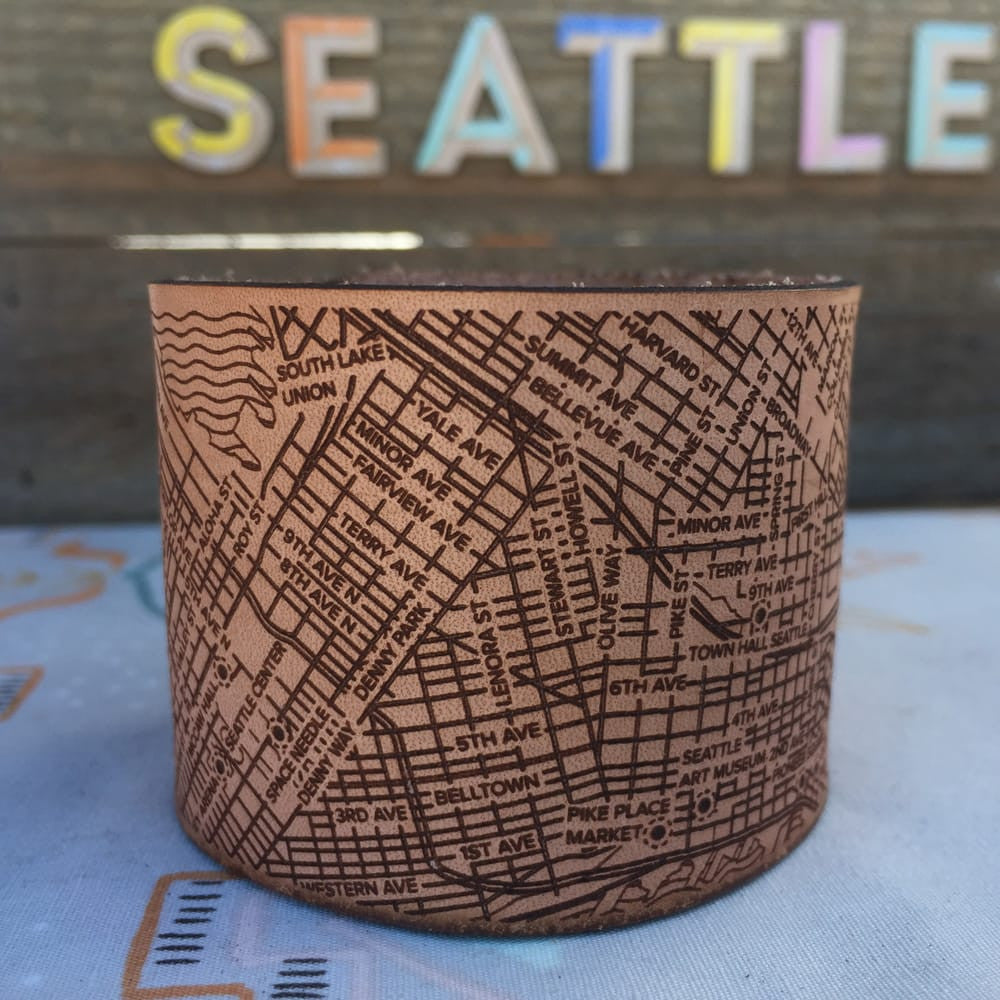 Seattle Map Bracelets - handmade leather - Designhype - City Inspired Accessories