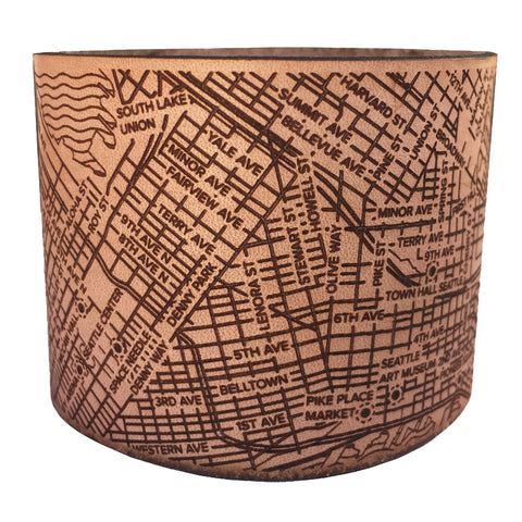 Handmade leather Seattle Map cuff bracelet by Designhype