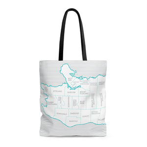 Vancouver BC Neighborhood Map Tote Bag - Designhype - City Inspired Accessories