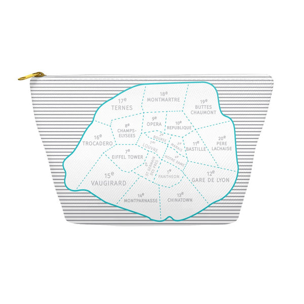 Paris Arrondissements - Neighborhood Map - Carry-all Pouch