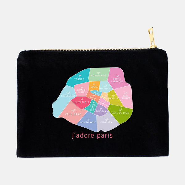 Colorful black Paris Neighborhood makeup bags by Designhype