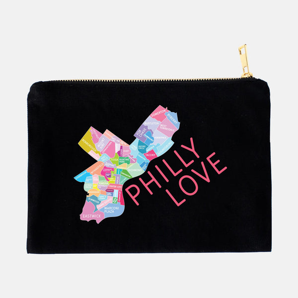 Colorful black Philadelphia Neighborhood makeup bags by Designhype