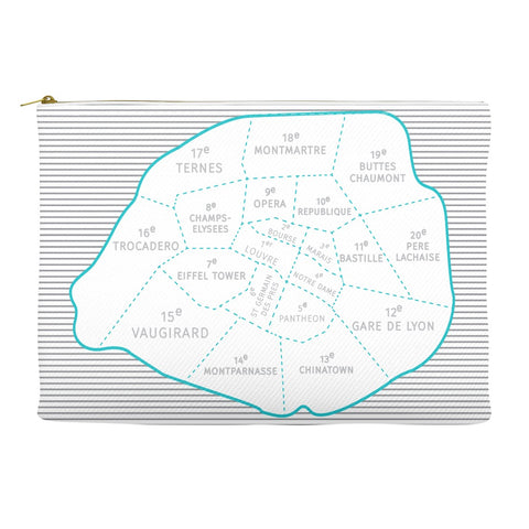 Paris Arrondissements - Neighborhood Map - Carry-all Pouch - Designhype - City Inspired Accessories