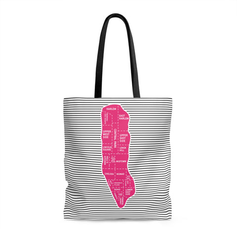 Manhattan Neighborhood Map Tote Bag