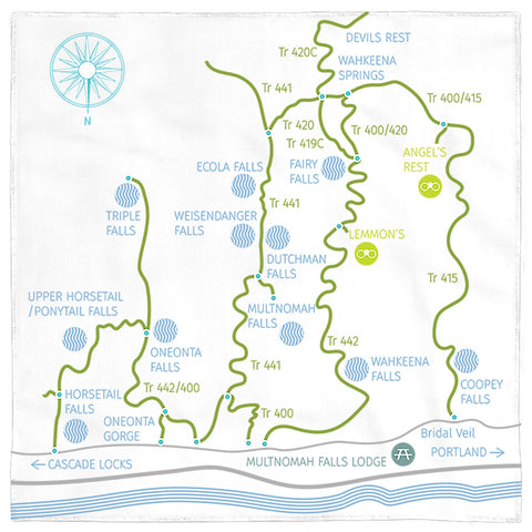 Columbia River Gorge / Multnomah Falls Hiking Map bandana by Designhype