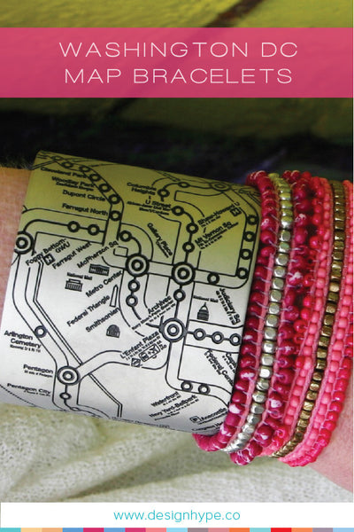Our Washington DC map bracelets are perfect for navigating around DC without having to look at a foldout map!
