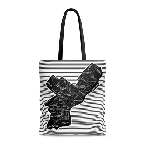 Philly Neighborhood Map Tote Bag