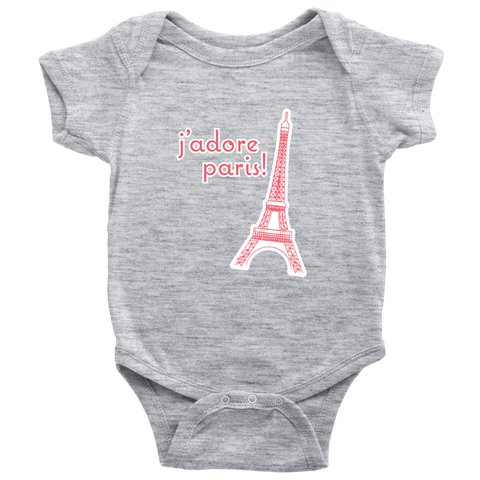 I Adore Paris baby onesie with Eiffel Tower - Designhype - City inspired Accessories