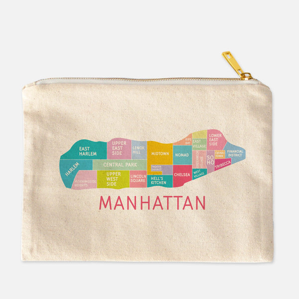 Colorful natural canvas Paris Neighborhood makeup bags by Designhype