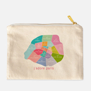 Paris Neighborhood Map Makeup Bag - Designhype - City Inspired Accessories