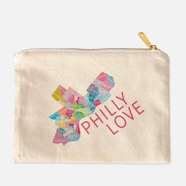 Colorful natural canvas Philadelphia Neighborhood makeup bags by Designhype
