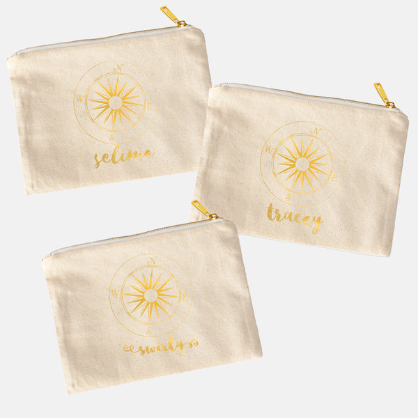 Wanderlust Makeup Bag Pouch - Personalize - Gold or Silver Foil