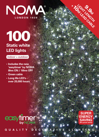 100 Static LEDs - White with Easytimer