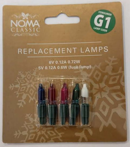 G1 6v:0.72w Multi Coloured Lamps (5/Card)