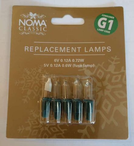 G1 6v:0.72w Clear Lamps (5 per card)