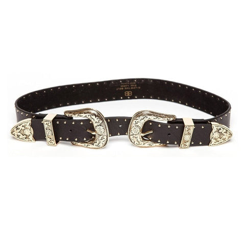 Bri Bri studded belt in black/gold
