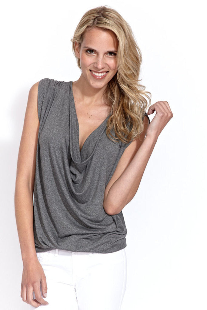 Cap Sleeve Draped Top in Heather Ash