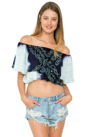 Candy crop top in evening/opal
