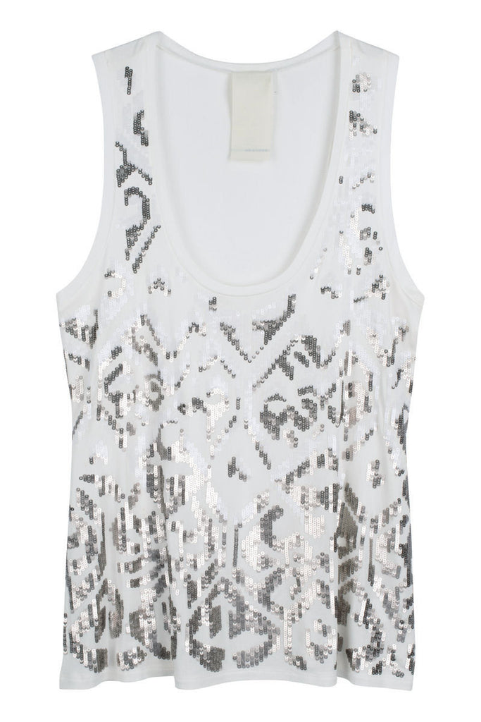 Sequin tank in white