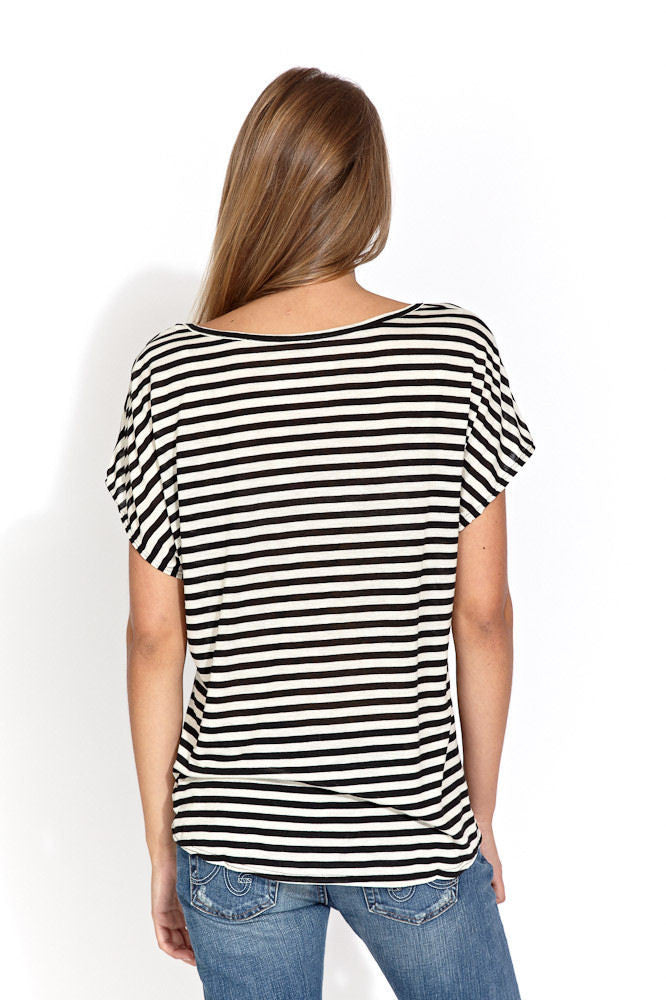 Oversized stripped tee in black/ecru