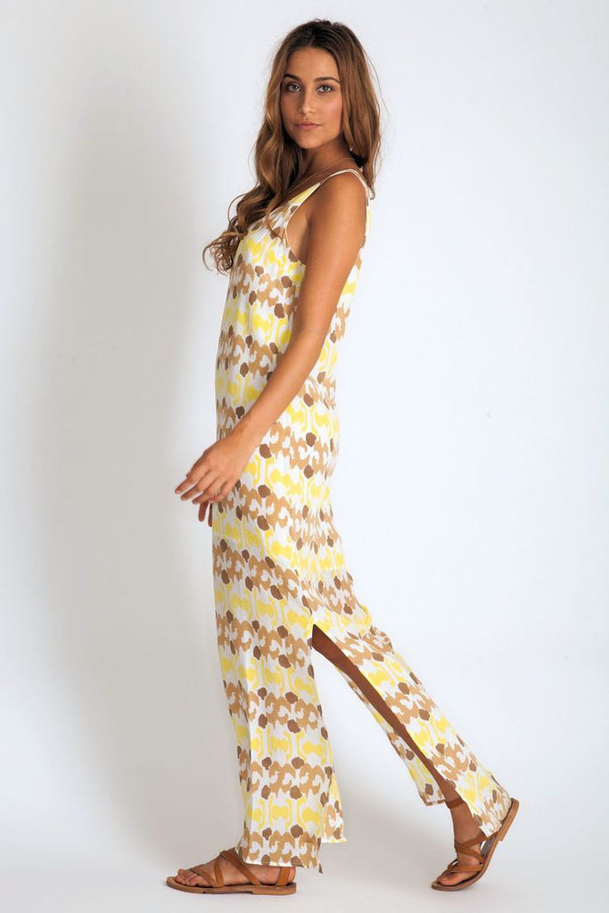 Jessie Dress in lemon ikat