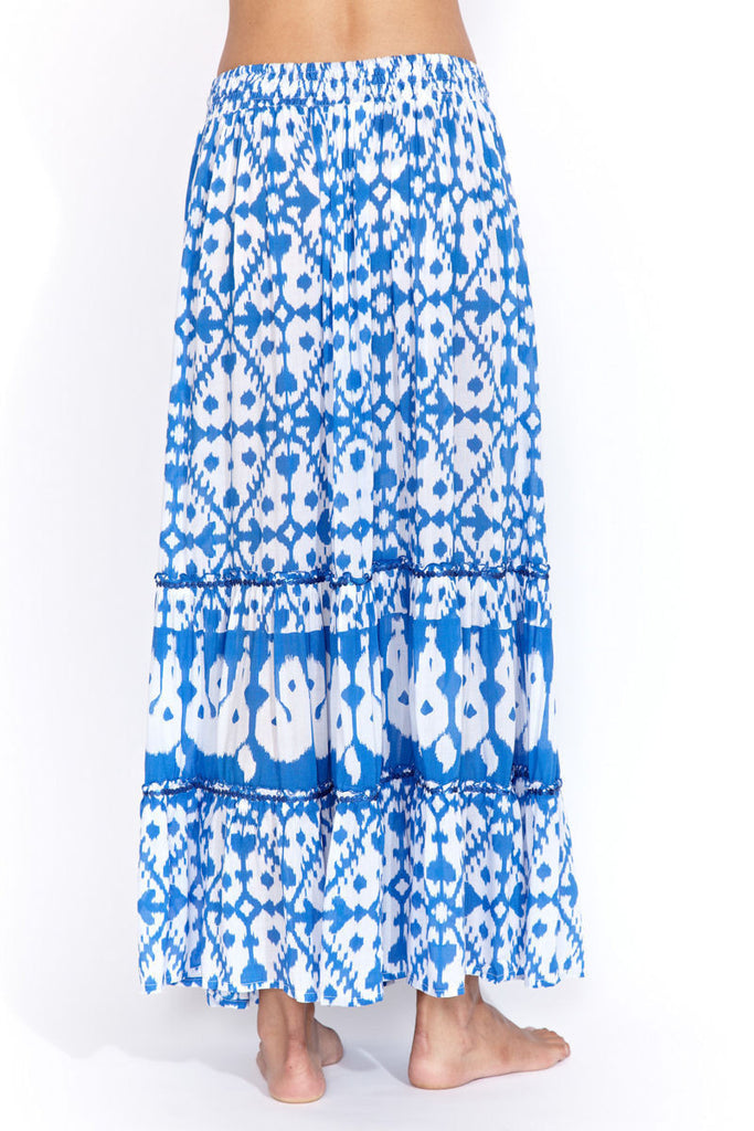 Maxi skirt in blue ikat
