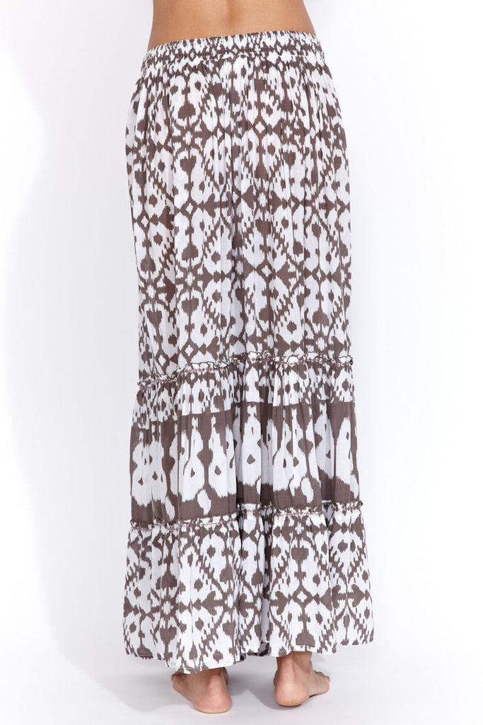 Maxi skirt in taupe ikat
