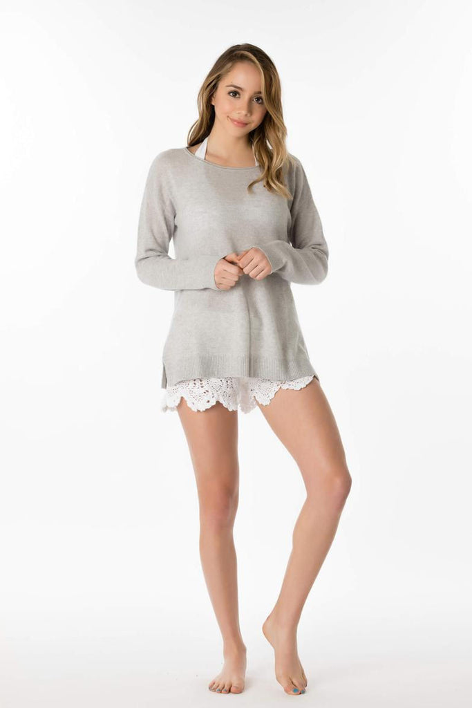Cashmere palm sweater in foggy