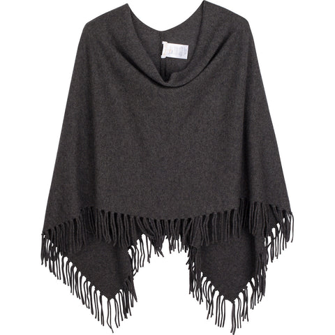 Cashmere fringe ruana in charcoal heather