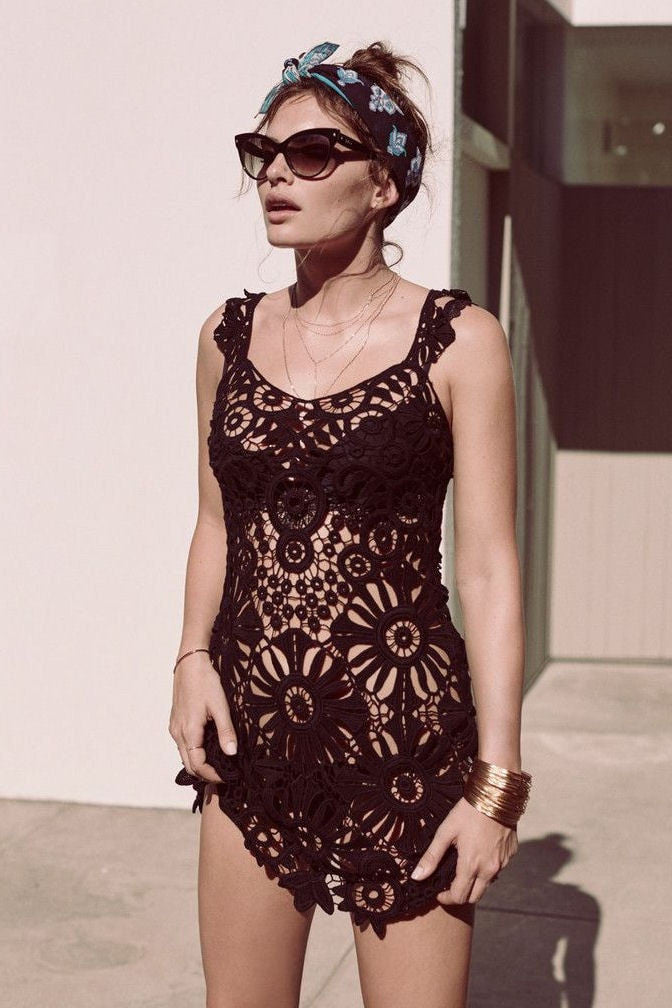 Riviera crochet cover-up in black